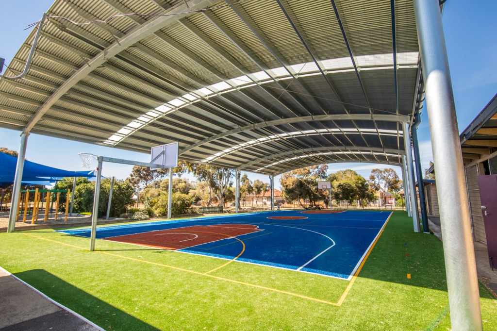 School shade structures - basketball sports courts